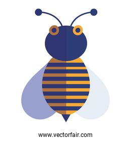 bee insect animal comic in cartoon flat icon style