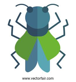 green insect animal in cartoon flat icon style