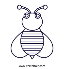 bee insect animal comic in cartoon line icon style