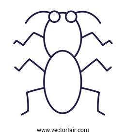 cricket insect animal in cartoon line icon style