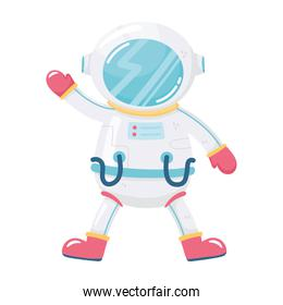 space adventure cartoon astronaut with suit and helmet