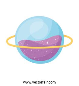 isolated planet space galaxy astronomy in cartoon style