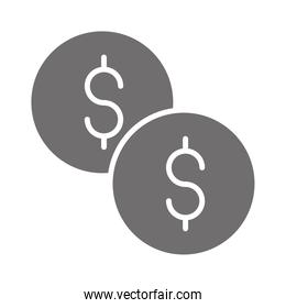 money coins currency in silhouette style icon