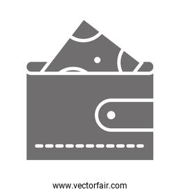 shopping wallet with money banknote commerce in silhouette style icon