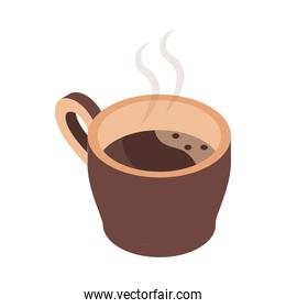 hot coffee cup brewing isometric icon design