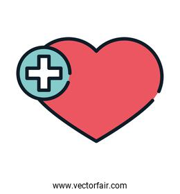 health medical heart cross line and fill