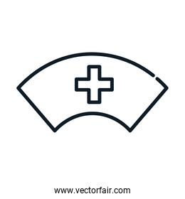 health nurse hat uniform medical line icon