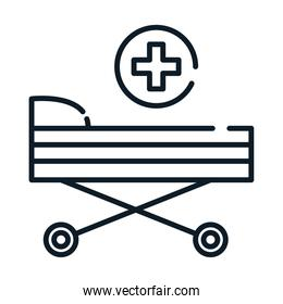 health medical stretcher equipment line icon