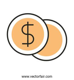 money coins currency cash line and fill