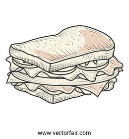 sandwich fast food and snacks hand drawn style