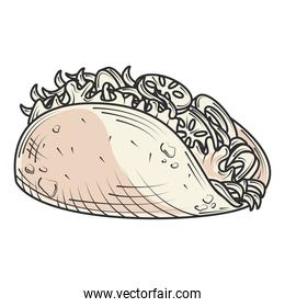 mexican taco fast food and snacks hand drawn style