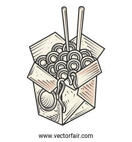 noodles in box with sticks food and snacks hand drawn style