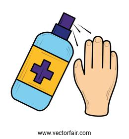 hand using alcohol gel sanitizer, new normal after coronavirus covid 19