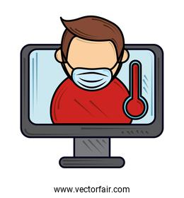 wearing mask and online meeting prevention, new normal after coronavirus covid 19