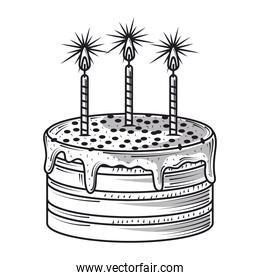 happy birthday cake with burning candles celebration party, engraving style