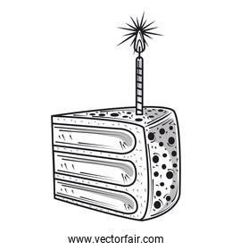 happy birthday slice cake with candle celebration party, engraving style