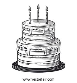 happy birthday sweet cake with candles celebration party, engraving style