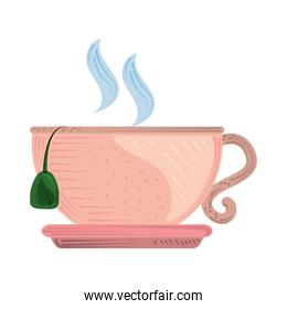 hot tea cup with saucer fresh beverage icon