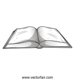 open book library, educational or learning concept engraving style