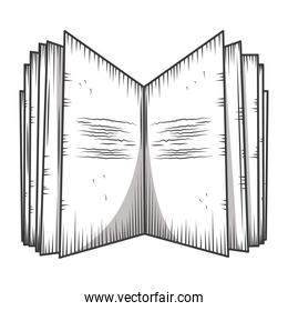 open book without text library, educational or learning concept engraving style