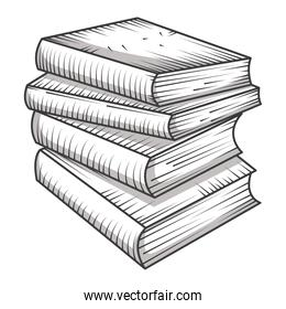 stacked books library, educational or learning concept engraving style