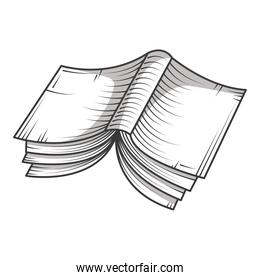 open book reading, library educational or learning concept engraving style