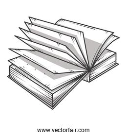 open book pages literature, educational or learning concept engraving style
