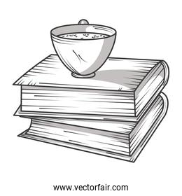 stack of books with coffee cup library, educational or learning concept engraving style