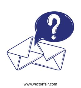 social media email question mark blue line fill style