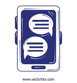 social media smartphone chatting message blue line fill style