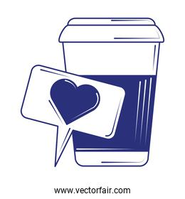 social media like coffee cup blue line fill style