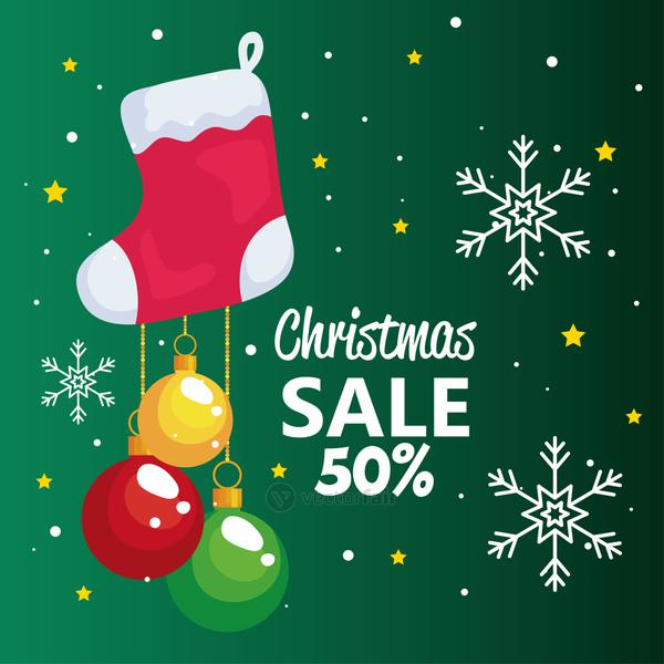 merry christmas offer sale boot and spheres hanging vector design