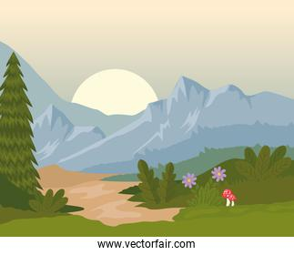 field camp landscape scene with sunset and flowers