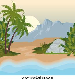 field camp landscape scene with sea and palms