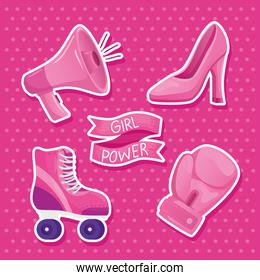 girl power lettering in ribbon frame and set icons