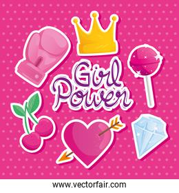 girl power lettering with set icons