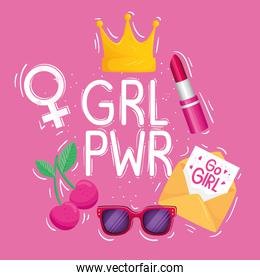 girl power lettering with crown and set icons