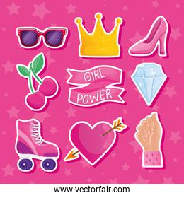 girl power lettering in ribbon frame and icons