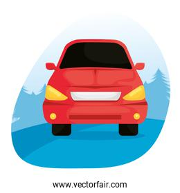 red car vehicle traveling isolated icon