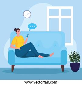 woman using smartphone for meeting online in the sofa
