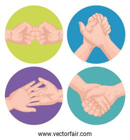 handshakes greeting expressions set icons