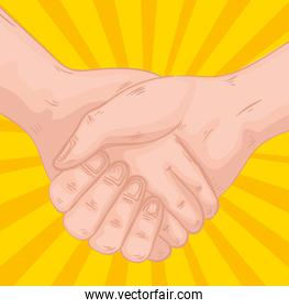 handshake greeting expression in yellow background