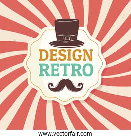 mustache in design retro with mustache in elegant frame and tophat