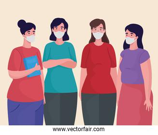 group of women using medical masks characters