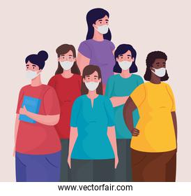 group of interracial women wearing medical masks characters