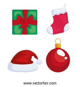 merry christmas gift boot hat and sphere vector design