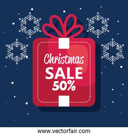 merry christmas offer sale gift label with snowflakes vector design