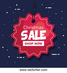 merry christmas offer sale label vector design