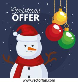 merry christmas offer sale with snowman and spheres vector design