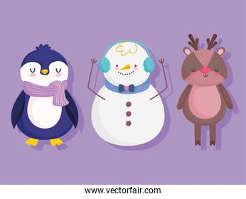 merry christmas cute penguin snowman and reindeer cartoon decoration and celebration